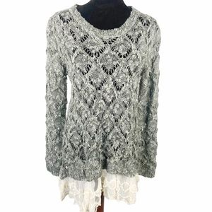 Altar'd State gray open knit sweater w/lace trim